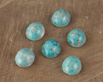 Turquoise Matrix Glass Cabochons 10mm x 8mm (6) cab6002A