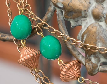Brass Chain with Teal Copper Acrylic Beads (1) chn070