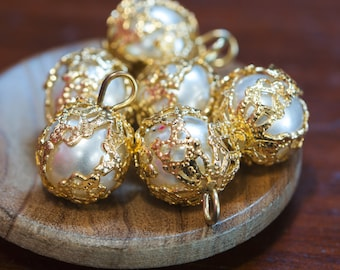 Gold Filigree Wrapped Pearl Drops Japan 10mm drp023