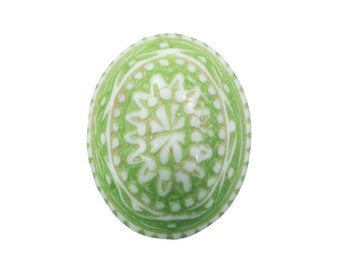 Vintage Mosaic Green and White Cabochons 10x8mm (8) cab714V