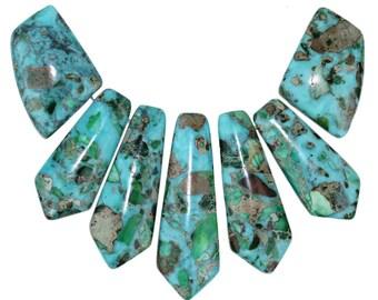 Dakota Stones Green Impression Jasper Turquoise & Pyrite Pendant Gemstones. 7 Pc Set. GIMTQS-PT-PEN-7