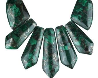 Dakota Stones Malachite & Pyrite Pendant Gemstones. 7 Pc Set. MLTPYR-PT-PEN-7