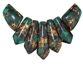 Dakota Stones Malachite and Bronzite Pendant Gemstones. 7 Pc Set. MLTBRZ-PT-PEN-7