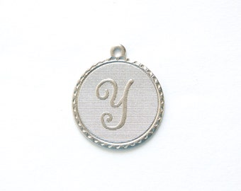 Matte Silver Plated Letter Y Initial Charm Drop with Loop (1) chr197Y