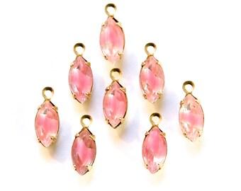 Pink Clear Givre Glass Navette Stones 1 Loop Brass Setting (8) nav007D