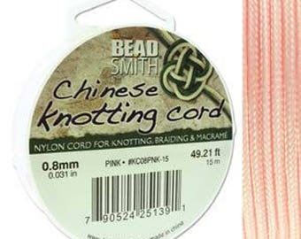 Pink Chinese Knotting Cord (.8mm/.031in) 15m/16.4yds