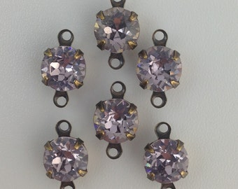 Vintage Light Amethyst Faceted Glass Stone 2 Loop Brass Ox Setting Drops 7mm (6) rnd007KK2