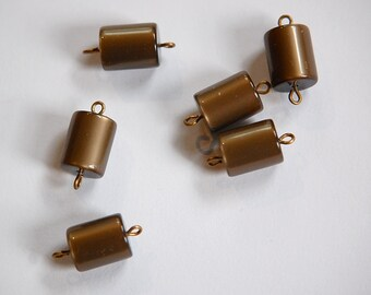 Vintage Brown Moonglow Lucite Connector Charms drp108A