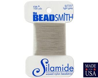 Light Grey Silamide Waxed Nylon Beadstring Size A (40 Yards) CSL7257