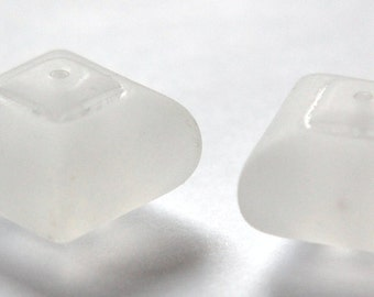 Vintage Large Chunky Matte Clear Acrylic Square Beads bds961A