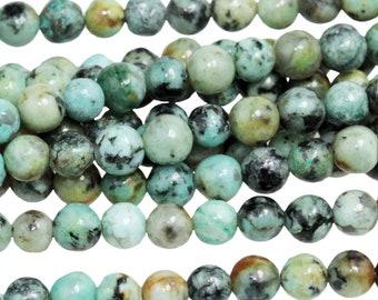 "Dakota Stones African Turquoise 4mm Round Gemstones. 8"" Strand. ATQ4RD-8"