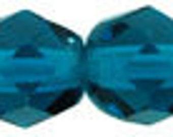 Czech Faceted Teal Firepolish Glass Beads 6mm (25)