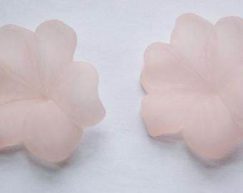 Vintage Acrylic Matte Peach No Hole Large Flower Findings bds964C