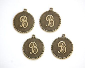 Brass Ox Letter B Initial Charm Drop with Loop (4) chr194B