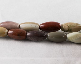 "Dakota Stones Imperial Jasper 8x16mm Rice Beads Gemstones 8"" Strand IMP8x16RC-8"