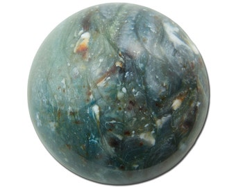 Vintage Acrylic Faux Stone Steel Blue Pearl with Brown Cabochon 30mm (2) cab852B