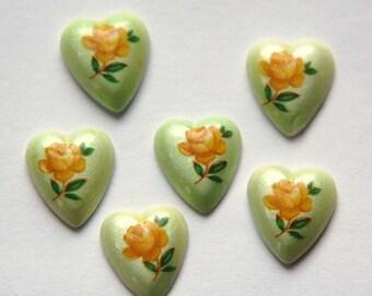 Vintage Glass Heart Cabochons Orange Rose on Green Japan 12mm (6) cab422E