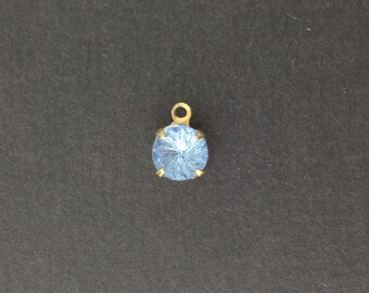 Vintage Etched Swirl Light Sapphire Glass Stone 1 Loop Brass Setting Drops 7mm (6) rnd001CC
