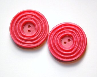 Vintage Rose Pink Etched Plastic Buttons Possible Setting btn023B