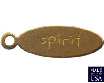 SPIRIT Oval Raw Brass Word Charm Drop with Loop (8) chr191A