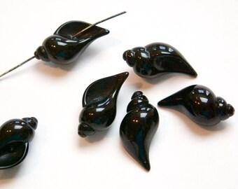 Vintage Black Acrylic Shell Bead Pendant bds905B