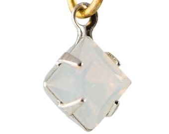 White Opal Faceted Square Glass Stones 1 Loop Silver Plated Setting 6mm (8) squ013RR