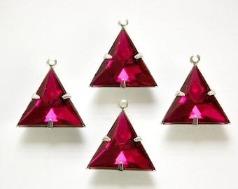 Fuchsia Acrylic Triangle in 1 Loop Silver Setting Pendant Drop tri003J