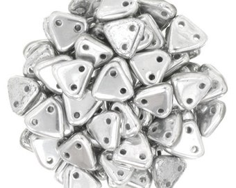 Silver CzechMates Triangle 2 Hole Glass Beads 6mm (50)