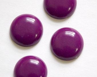 Vintage Plum Purple Acrylic Cabochons 18mm (4) cab834E