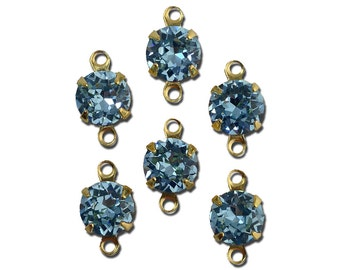Vintage Light Sapphire Faceted Glass Stone 2 Loop Gold Setting Drops 7mm (6) rnd017JJ2