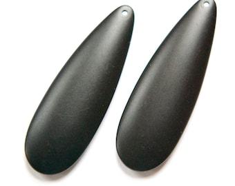 Vintage Matte Black Teardrop Pendants MD (2) pnd144F