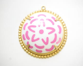 Pop Color Pink  Flower Cab in Brass Earrings Findings or Pendant  (2) pnd165A