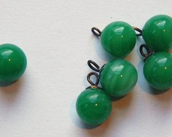 Vintage Jade Green Glass Drops Japan 10mm drp043