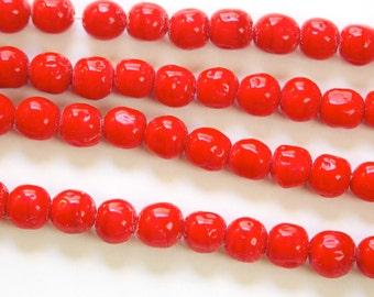 Vintage Red Baroque Glass Beads Japan 8mm (8)  jpn004D