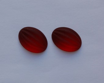 Matte Ruby Red Ribbed Melon Glass Cabochons 18mm x 13mm cab449C