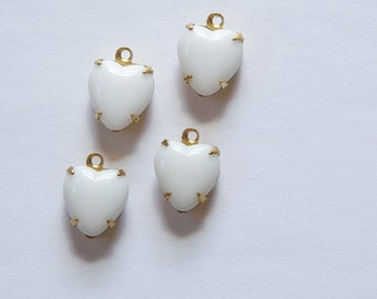 Vintage Opaque White Glass Heart Pendants in 1 Loop Brass Setting 10mm hrt008D