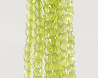 Czech Faceted Transparent Luster Iris Olivine Polish Glass Beads 3mm (50)