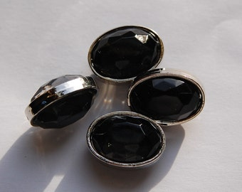 Black Faceted Lucite Silver Channel Set Oval Beads Japan bds992A