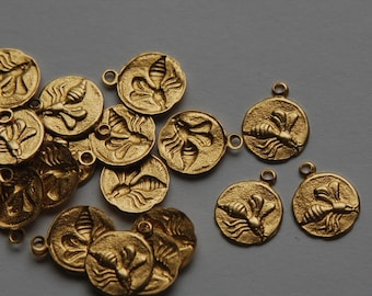 Raw Brass Tiny Flying Bee Charm Drops (8) chr051A