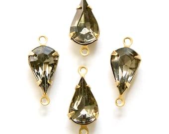 Vintage Black Diamond Faceted Glass Teardrop Stone 2 Loop Brass Setting par003A2