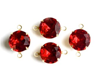 Ruby Red Glass Stones 2 Loop Brass Settings 12mm rnd004HH2
