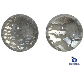 Preciosa Handmade Gray Foil Opal Round Cabochon 13mm (2) cab3006L