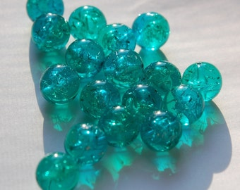 Vintage Blue and Green Lucite Confetti Beads 13mm bds874