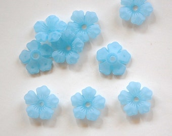 Matte Blue Stacking Flower Beads 14mm bds671D