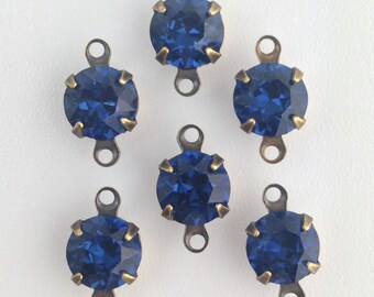 Vintage Montana Blue Faceted Glass Stone 2 Loop Brass Ox Setting Drops (6) rnd007FF2