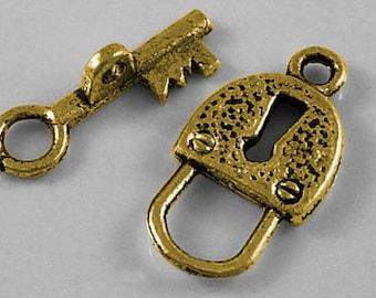 Lock and Key Antiqued Gold Toggles (10 Sets) tog011B