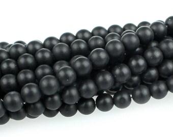 "Dakota Stones Matte Onyx 4mm Round Gemstones. 8"" Strand. MOX4RD-8"