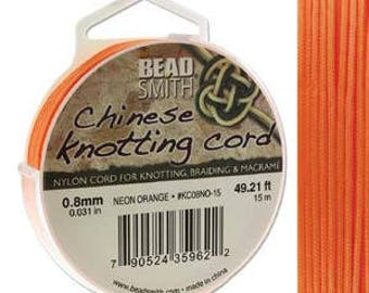 Neon Orange Chinese Knotting Cord (.8mm/.031in) 15m/16.4yds