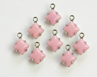 Vintage Opaque Pink Square Glass Stones 1 Loop Silver Setting 6mm squ013U