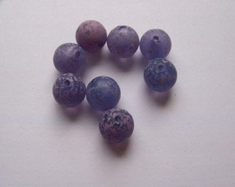 Vintage Acrylic Clear Purple With Pale Purple Spatter Beads bds292